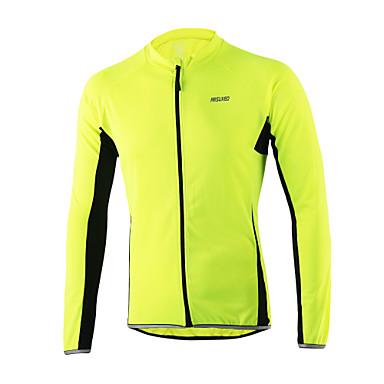 Arsuxeo Homens Manga Longa Camisa para Ciclismo - Laranja Amarelo Claro Cinzento Escuro Azul Claro Moto Camisa/Roupas Para Esporte,