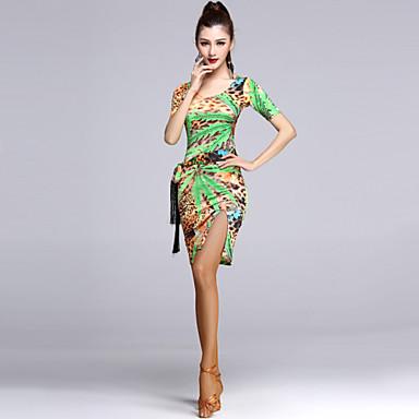 라틴 댄스 드레스 여성용 성능 비스코스 드레이프 1개 드레스