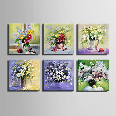 Håndmalte Blomstret/BotaniskEuropeisk Stil Et Panel Lerret Hang malte oljemaleri For Hjem Dekor