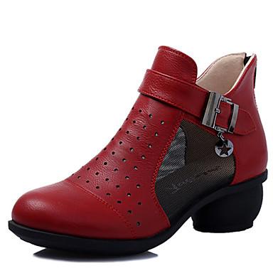 נשים סניקרס לריקוד מודרני עור נעלי ספורט חיצוני רוכסן עקב קובני שחור אדום בז' 5 ס