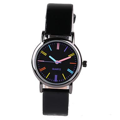 Damen Modeuhr Quartz Armbanduhren für den Alltag PU Band Elegant Schwarz