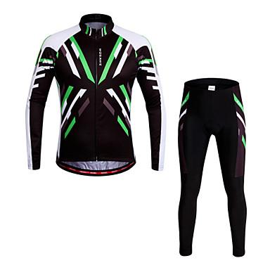 WOSAWE Pitkähihainen Pyöräily jersey ja trikoot - Vihreä Pyörä Pyöräily Sukkahousut Jersey Pants Vaatesetit, 3D alusta, Nopea kuivuminen,