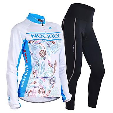 Nuckily בגדי ריקוד גברים בגדי ריקוד נשים שרוול ארוך חולצה וטייץ לרכיבה - כחול פרחוני  בוטני גאומטרי אופניים מדים בסטים, שמור על חום הגוף,