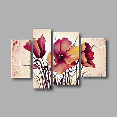 Handgemalte Blumenmuster/Botanisch jede Form, Modern Segeltuch Hang-Ölgemälde Haus Dekoration Vier Panele