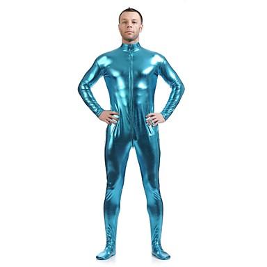Skinnende Zentai Drakter Ninja Zentai Cosplay-kostymer Blå Ensfarget Trikot / Heldraktskostymer Zentai Spandex Skinnende Metallisk Herre