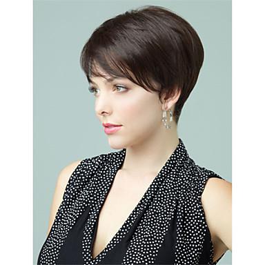 Ihmisen hiukset Capless Peruukit Aidot hiukset Suora Pixie-leikkaus / Otsatukalla Sivuosa Lyhyt Suojuksettomat Peruukki Naisten