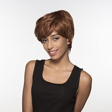 lenyűgöző rövid haj női tanksapka nélküli Remy emberi haj kézzel kötött -TOP paróka