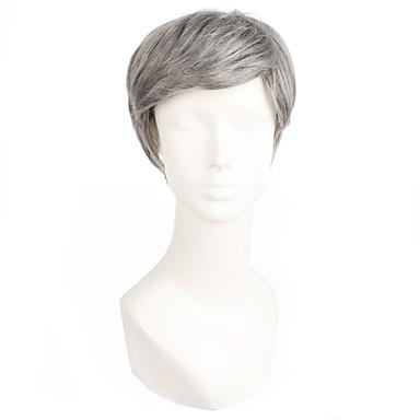 Syntetiske parykker Herre / Dame Rett Hvit Pixiefrisyre / Med lugg Syntetisk hår Hvit Parykk Kort Lokkløs Sølv