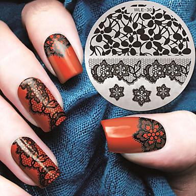 2016 neueste Version Mode-Muster Spitzeblumennagelkunst Stamping Schablone Platten