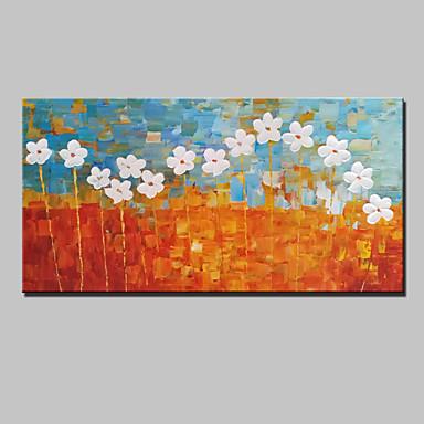 Maalattu Abstrakti Maisema Kukkakuvio/Kasvitiede Abstraktit maisemakuvat Vaakasuora,Moderni 1 paneeli Kanvas Hang-Painted öljymaalaus For