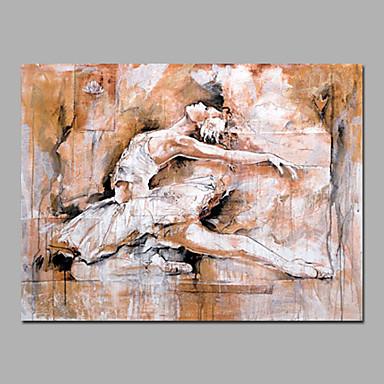 Maalattu Abstrakti / IhmisetModerni 1 paneeli Kanvas Hang-Painted öljymaalaus For Kodinsisustus