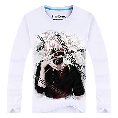 Inspiriert von Tokyo Ghoul Ken Kaneki Anime Cosplay Kostüme Cosplay-T-Shirt Druck Langarm Top Für Mann