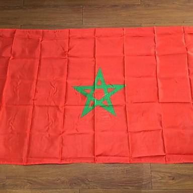 Marokko lippu polyesteri lippu 5 * 3 jalkaa 150 * 90 cm korkea laatu halpa hinta-laji ammunta (ilman lipputangon)