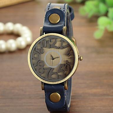 Damen Modeuhr Quartz Armbanduhren für den Alltag Leder Band Schwarz Weiß Blau Rot Braun Grün Gelb Mehrfarbig