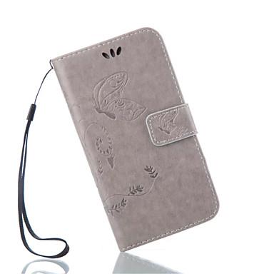 Varten Samsung Galaxy kotelo Lomapkko / Korttikotelo / Tuella / Flip / Koristeltu Etui Kokonaan peittävä Etui Kukka Tekonahka Samsung