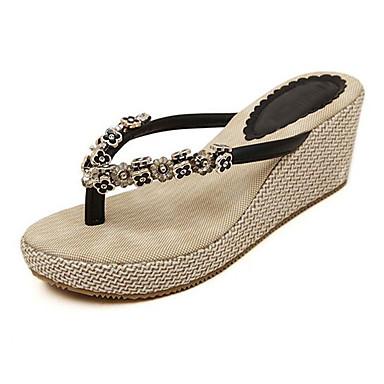 Flip-flop papucsok-Parafa-Női cipő-Flip-flop-Szabadidős / Alkalmi-PU-Fekete / Mandula