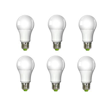 6pcs 980lm E26 / E27 LED Kugelbirnen A60(A19) 1 LED-Perlen COB Kühles Weiß 100-240V / 6 Stück / RoHs