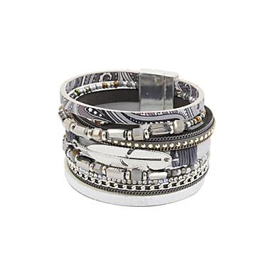 נשים צמידי עור סגסוגת עור אקרילי אבן נוצצת חיקוי יהלום עיצוב מיוחד אופנתי תכשיטים שחור אפור תכשיטים 1pc