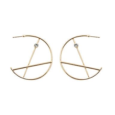 Brincos Compridos Brincos em Argola Jóias de Luxo Strass Chapeado Dourado imitação de diamante Liga Formato Circular Forma Geométrica