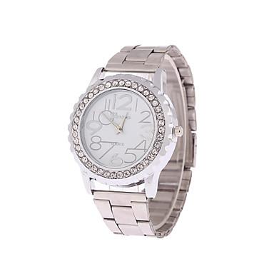 Homens Mulheres Casal Relógio de Moda Quartzo Aço Inoxidável Banda Prata Dourada
