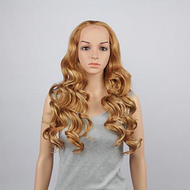 Art und Weise synthetische Perücken schnüren sich vordere Perücken 28inch wellig gelbe hitzebeständige Haarperücken Frauen