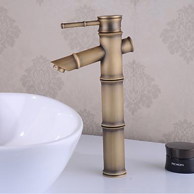 Tradicional Conjunto Central Cascata Válvula Cerâmica Uma Abertura Monocomando e Uma Abertura Latão Antiquado , Torneira pia do banheiro