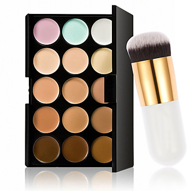 15 värit contour kasvovoide meikki peitevoide paletti + soik kermajauhe poskipuna meikki työkalu
