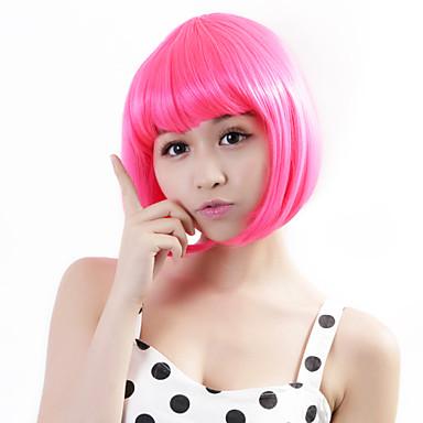 Искусственные волосы парики Прямой силуэт Стрижка боб Карнавальный парик Парик для Хэллоуина Розовый