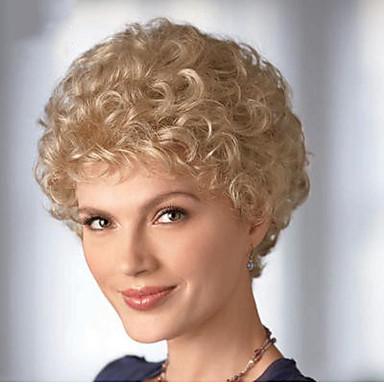 Synthetische Perücken Locken Blond Damen Kappenlos Karnevalsperücke Halloween Perücke Kurz Synthetische Haare