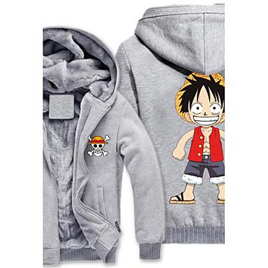 Inspirado por One Piece Monkey D. Luffy Anime Fantasias de Cosplay Hoodies cosplay Estampado Manga Longa Blusa Para Masculino