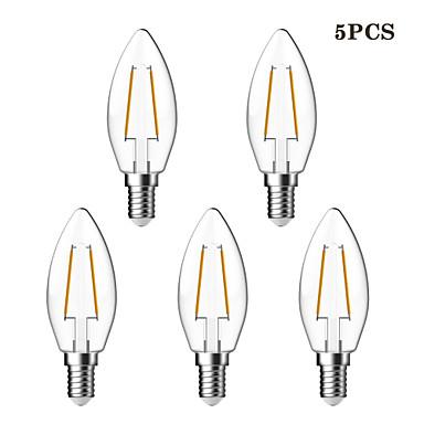 KWB 5pcs 2W 180 lm E14 LED-glødepærer C35 2 leds COB Vanntett Dekorativ Varm hvit AC 220-240V