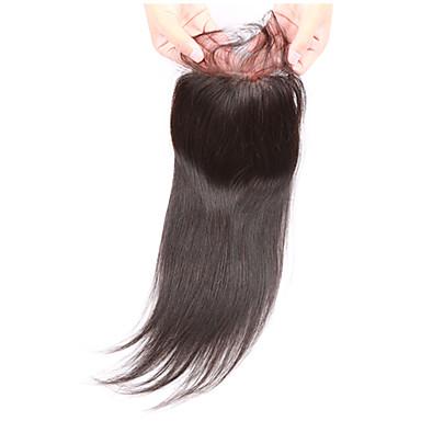 Suora Full Lace 3.5x4 päättäminen 100% käsinsidottu Sveitsiläinen peruukkiverkko Aidot hiukset Vapaa Osa Keskimmäinen osa 3 Osa