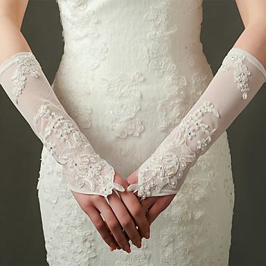 Elastischer Satin Opernlänge Handschuh Brauthandschuhe Party / Abendhandschuhe With Applikationen