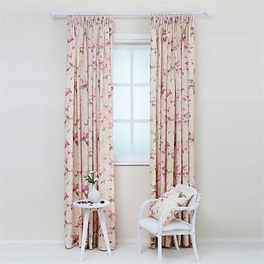 Purjerengas Kynälaskostettu 2 paneeli Window Hoito Kantri Moderni Suunnittelija Living Room Polyester/puuvillaseos materiaali verhot