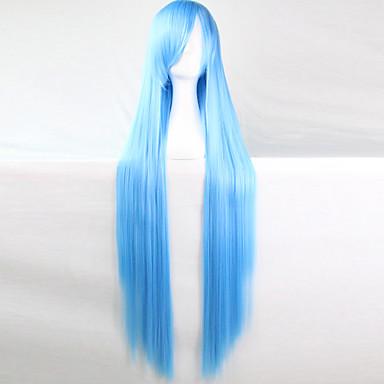 povoljno Perike i ekstenzije-Sintetičke perike Perike za maškare Ravan kroj Stil Asimetrična frizura Capless Perika Svjetloplav Sintentička kosa Žene Prirodna linija za kosu Plava Perika Dug