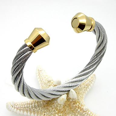 Homens Feminino Pulseiras Algema Aço Inoxidável Chapeado Dourado Estilo Punk Prata Dourado/Prateado Jóias 1peça