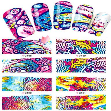 8 pcs Jóias de Unhas Adesivo de transferência de água arte de unha Manicure e pedicure Adorável Desenho / Jóias de unha