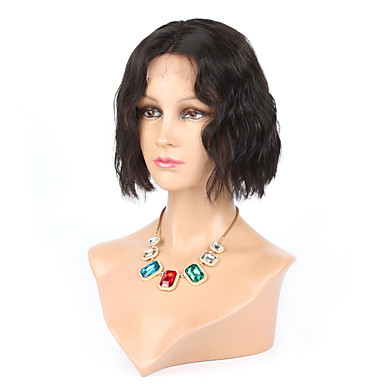 Echthaar Spitzenfront Perücke Wellen 150% Dichte 100 % von Hand geknüpft Afro-amerikanische Perücke Natürlicher Haaransatz Kurz Damen
