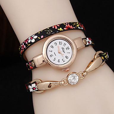 Damen Modeuhr Armband-Uhr Quartz Armbanduhren für den Alltag Legierung Band Blume Schwarz Blau Gold Lila