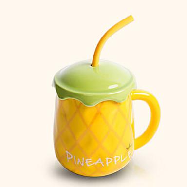 luova söpö Hami meloni tyyli juominen olki keraaminen muki kuppi