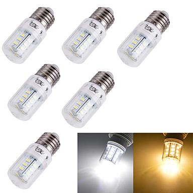 6pcs 3 W 3000/6000 lm E14 / E26 / E27 LED-kornpærer T 24 LED perler SMD 5730 Dekorativ Varm hvit / Kjølig hvit 220-240 V / 110-130 V / 6 stk.