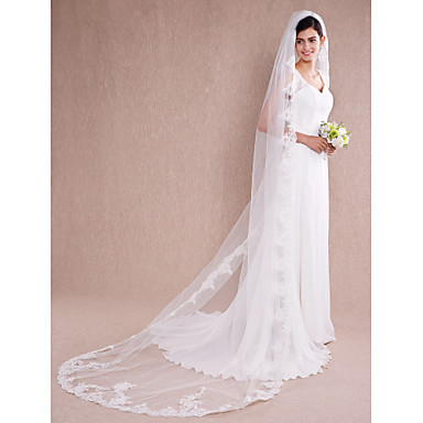 One-tier Lace Applique Edge Wedding Veil Chapel Veils / Cathedral Veils 53 Appliques Tulle / Angel cut / Waterfall