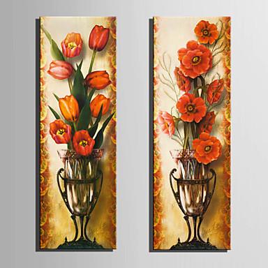 Blomstret/Botanisk Klassisk, To Paneler Lærred Vertikal Print Vægdekor Hjem Dekoration