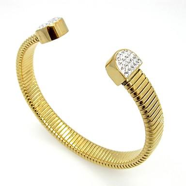 Naisten Rannekkeet Säädettävä Avoin ylellisyyttä koruja Ruostumaton teräs Gold Plated jäljitelmä Diamond Kulta Korut VartenHäät Party