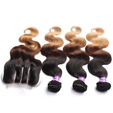 שיער מלזי שיער Weft עם סגירה Body Wave תוספות שיער 4 חלקים שחור / תות בלונדינית