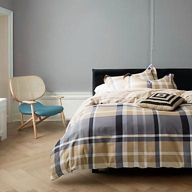 Bettbezug-Sets Kariert 4 Stück Reaktivdruck 1 Stk. Bettdeckenbezug 2 Stk. Kissenbezüge 1 Stk. Betttuch