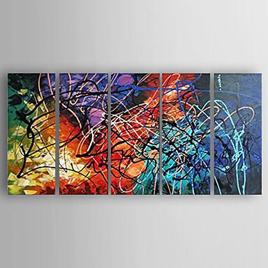 Maalattu AbstraktiModerni 5 paneeli Kanvas Hang-Painted öljymaalaus For Kodinsisustus