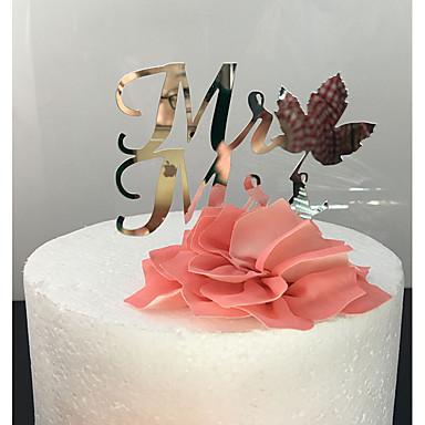 Kakepynt Klassisk Tema Klassisk Par Akryl Bryllup med 1 OPP