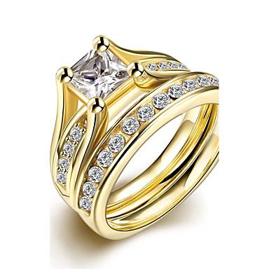 Mulheres Zircônia cúbica Anel de banda / Conjuntos de anéis - Zircão, Zircônia Cubica, Aço Titânio Fashion Para Casamento / Festa / Diário