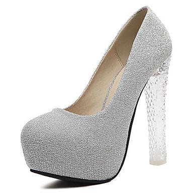 Damen Schuhe Glanz Sommer High Heels Blockabsatz Glitter für Normal Grau Rosa